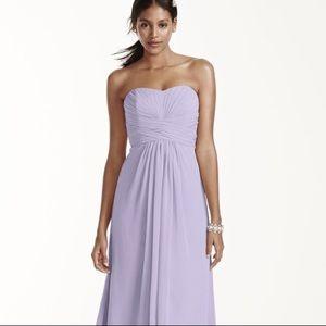 David's Bridal Long Chiffon Bridesmaid Dress